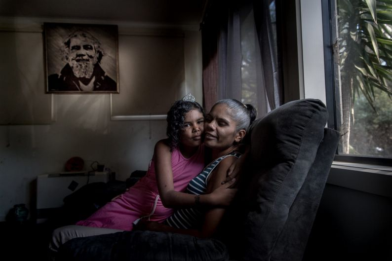 10th anniversary of Kevin Rudd's apology to the Stolen Generation. Mary Edwards with daughter Regina and a portrait of ...