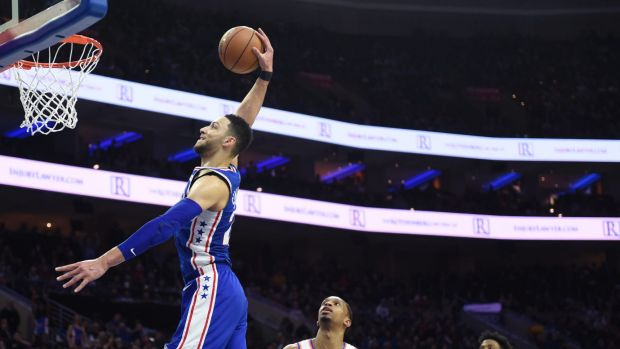 Easy win: Ben Simmons throws down a dunk.