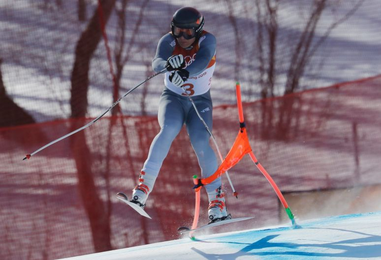 Russia's Pavel Trikhichev crashes during the downhill portion of the men's combined at the 2018 Winter Olympics in ...