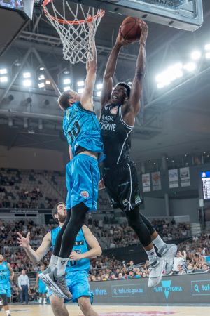 Melbourne United's Felix Carrick gets the fans on their feet on Friday night.