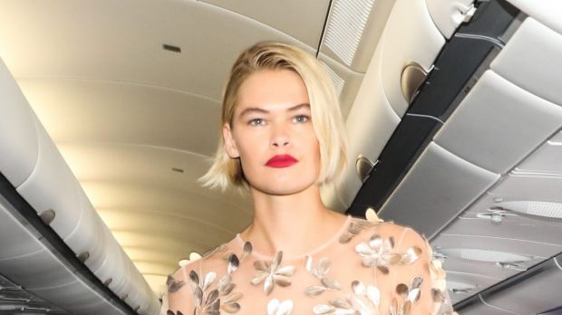 A model wears a design by Ginger and Smart for Runway in the Sky on Tuesday.