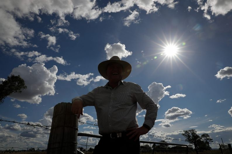 Barnaby Joyce, poses for portraits at the Tamworth Airport, during the New England by-election on December 1, 2017.