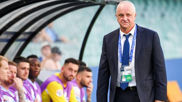 Bitter: Graham Arnold reacts to the unfolding defeat to Suwon at Allianz Stadium.