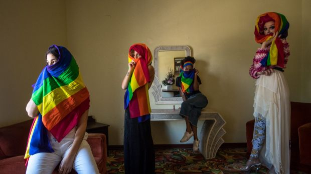 Zali Ghelardini, Kalida Edwards, Maya Weiss and Mable Syrup model the rainbow hijabs they will wear for the Sydney Gay ...