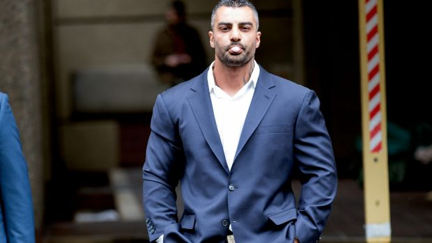 Mick Hawi outside court in 2015, just hours before he was jail over the Sydney Airport brawl.