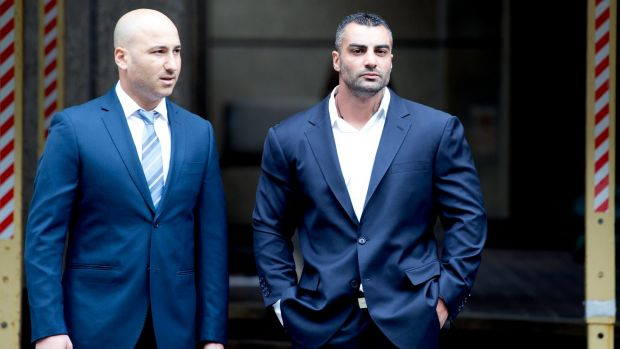 Former Comanchero bikie boss Mick Hawi (right) arrives at court in 2015 on the manslaughter charge arising from the 2009 ...