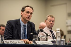New ASIC chairman James Shipton gives evidence at the Parliamentary hearing on Friday.