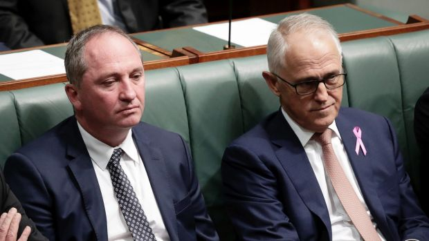 Barnaby Joyce and Malcolm Turnbull in Parliament during the height of the crisis over the former deputy prime minister's ...