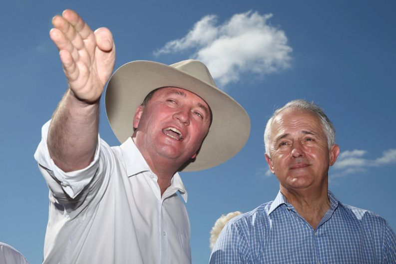 Prime Minister Malcolm Turnbull and Deputy Prime Minister Barnaby Joyce during a press conference after they visited a ...