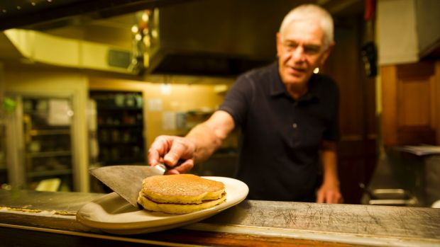 Philip Barton of Capital Pancakes, formerly the Pancake Parlour, demonstrating how to make a pancake.