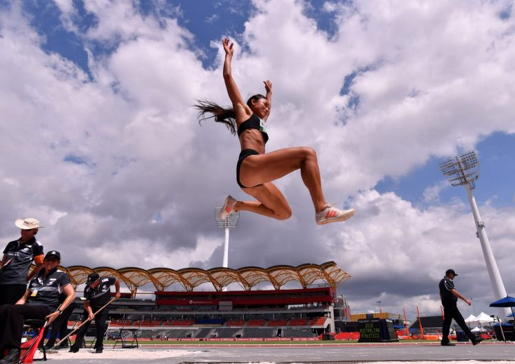 Sinta Wardana in action during qualifying for the women's long jump on day three of the Australian Athletics ...
