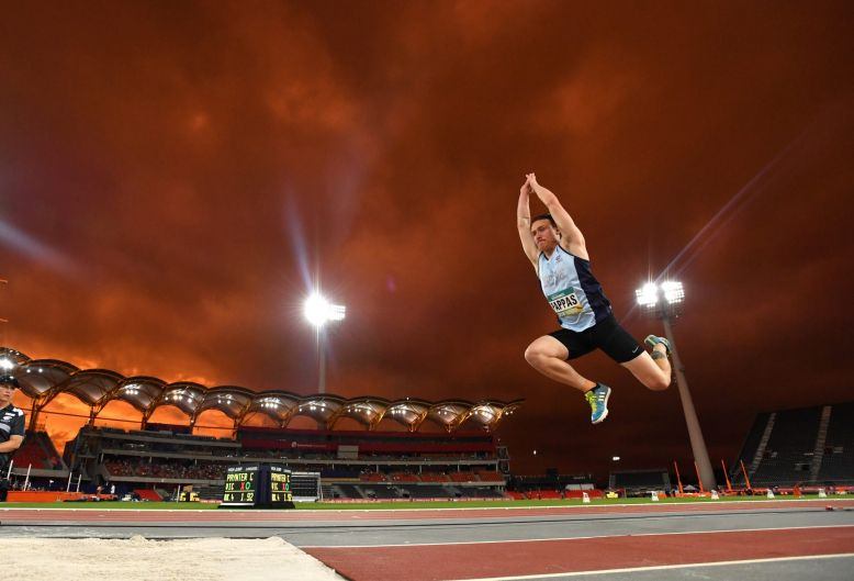 Cameron Pappas of NSW in action during the Men's Triple Jump Final on day two of the Australian Athletics Championships ...