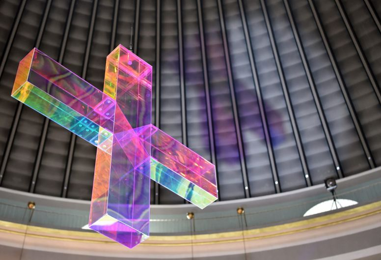 An art installation by artist Ludger Hinse, hangs in the St. Hedwigs cathedral in Berlin, Germany.