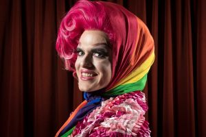 The Age, News, 12/02/2018, photo by Justin McManus. Rainbow hijabs for the LGBTQI gay community. Mable Syrup models the ...