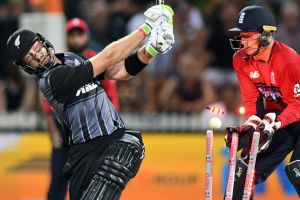 Heave ho: Martin Guptill is bowled for 62 by Dawid Malan in front of Jos Buttler at Seddon Park.