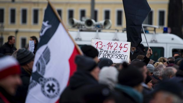 The neo-Nazi rally in Dresden on Saturday.