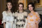Alexa Chung, Greta Bellamacina and Pixie Geldof pose for photographers before the Simone Rocha Autumn/Winter 2018 ...