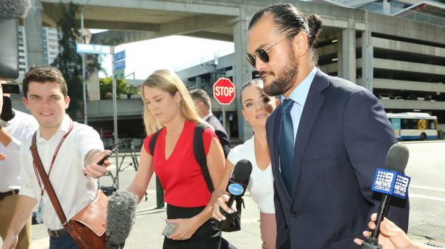 Different scrum: Karmichael Hunt faces the media after Monday's court appearance.
