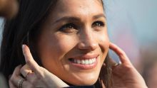 Meghan Markle will marry Prince Harry three months from today but her favoured designer, Roland Mouret, gave no hints ...