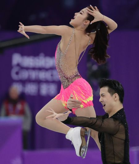 Wang Shiyue and Liu Xinyu of China perform during the ice dance, short dance figure skating in the Gangneung Ice Arena ...