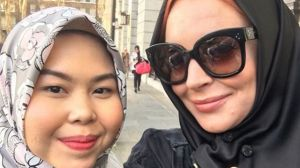 Lindsay Lohan at London Modest Fashion Week 2018.