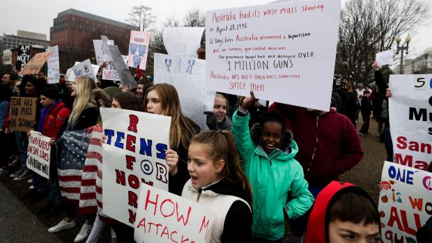 Makenzie Hymes and other students at the protest outside the White House on Monday.