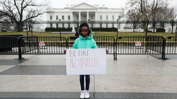 13-year-old Makenzie Hymes, from Virginia, calling for gun law reform at a protest outside the White House on Monday.