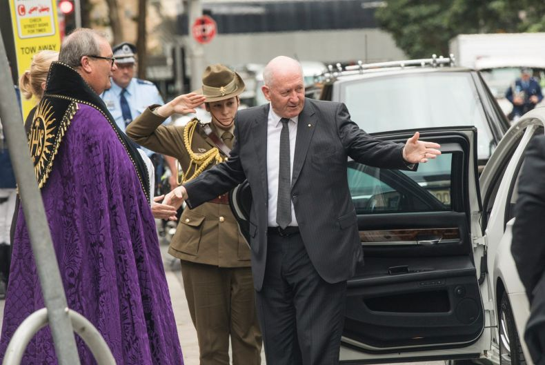 Australian Governor General, Sir Peter Cosgrove, arrives.