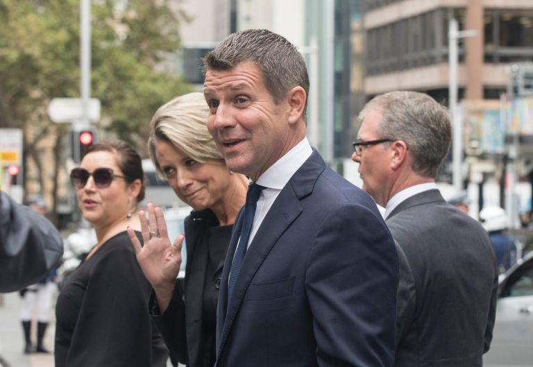 Mike Baird and Kristina Keneally arrive.