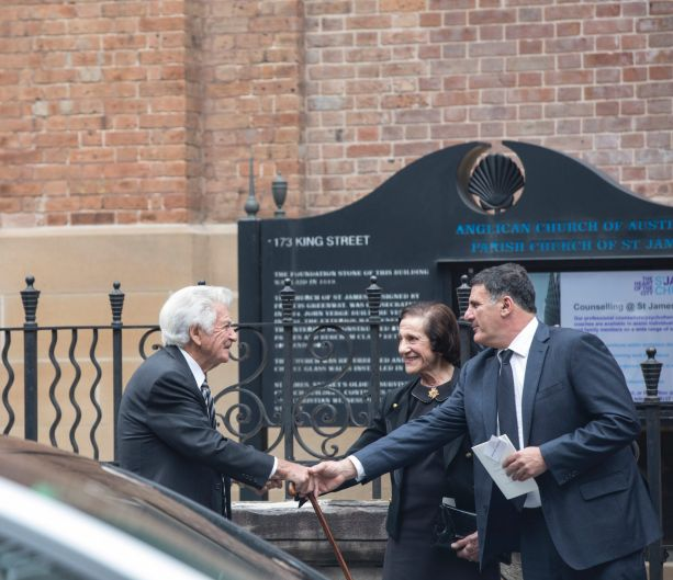 Former Prime Minister Bob Hawke greets Marie Bashir and her son Michael Shehadie after the funeral service.