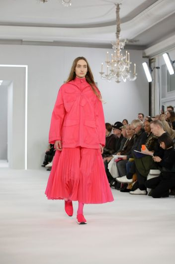 A model wears a creation by Jasper Conran at the Autumn/Winter 2018 runway show in London.