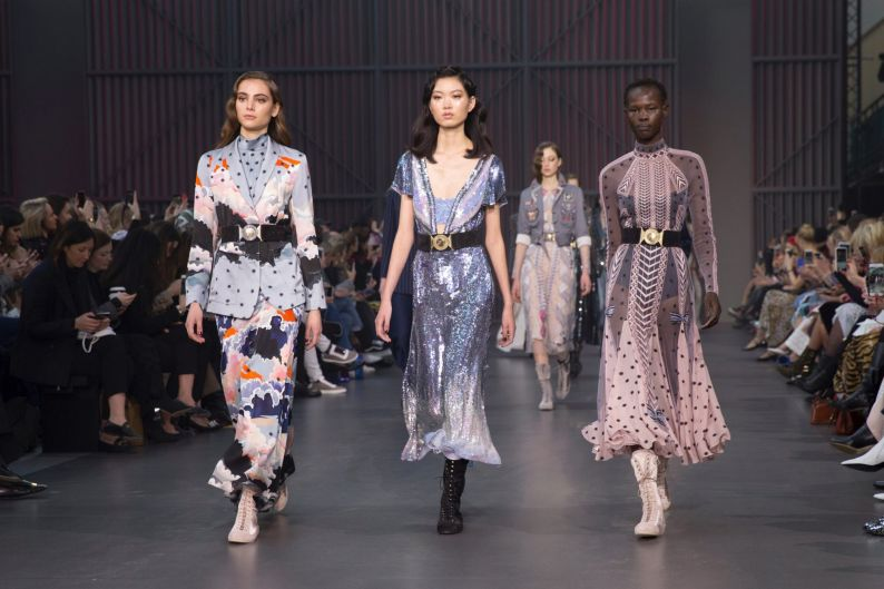 Models wear creations by Temperley at the Autumn/Winter 2018 runway show in London.