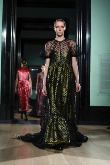 Models wear creations by Erdem at the Autumn/Winter 2018 runway show in London, Monday, Feb. 19, 2018. (Photo by Grant ...