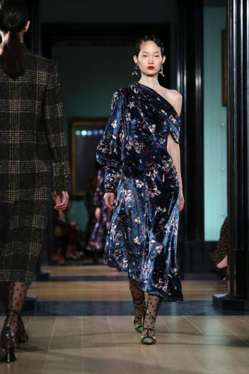 A model wears a creation by Erdem at the Autumn/Winter 2018 runway show in London.