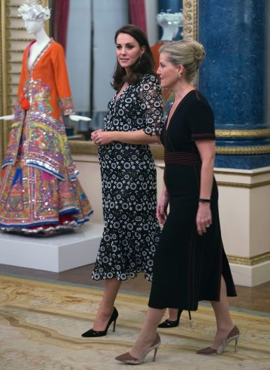 Britain's Kate The Duchess of Cambridge and The Countess of Wessex, right, host a reception at Buckingham Palace on ...