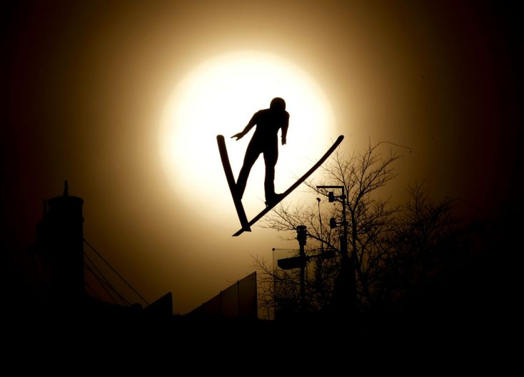 Tomas Portyk, of the Czech Republic, jumps during training for the nordic combined competition at the 2018 Winter Olympics.