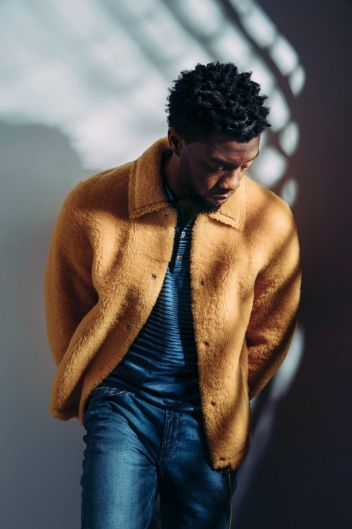 "In this Feb. 14, 2018 photo, actor Chadwick Boseman poses for a portrait in New York to promote his film, ""Black Panther."""