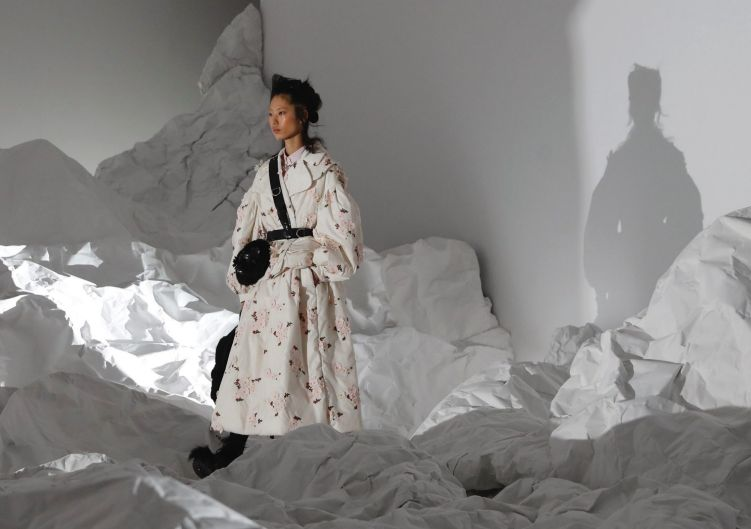 A model wears a creation for Moncler women fall/winter 2018/19 collection, part of the Milan Fashion Week, unveiled in ...