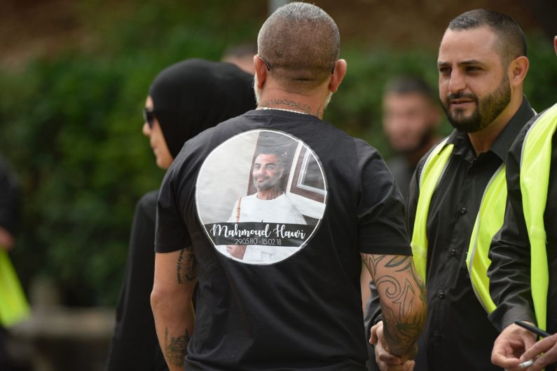 Mourners at Mahmoud Mick Hawi's funeral at Arncliffe Mosque.