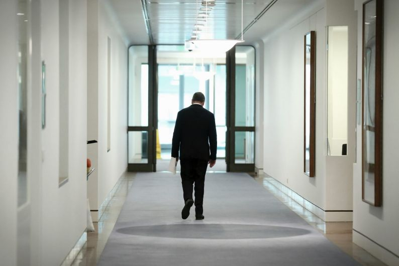 FILE PHOTO: Deputy Prime Minister Barnaby Joyce departs addressing the media during a press conference at Parliament ...