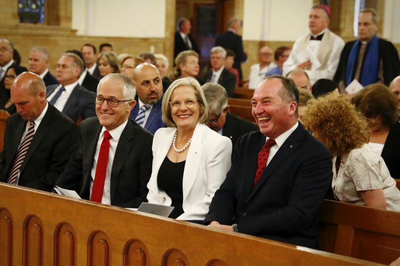 Prime Minister Malcolm Turnbull, Lucy Turnbull and Deputy Prime Minister Barnaby Joyce during a service at St ...