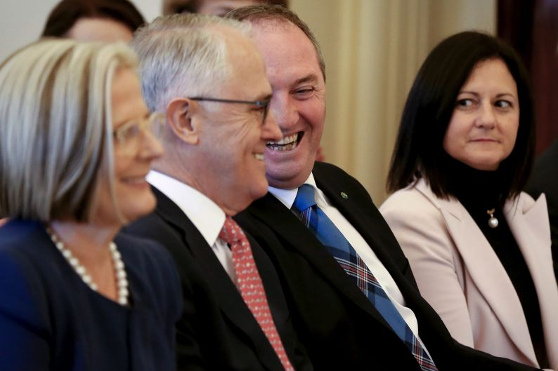 Prime Minister Malcolm Turnbull and Deputy Prime Minister Barnaby Joyce during the swearing-in ceremony at Government ...