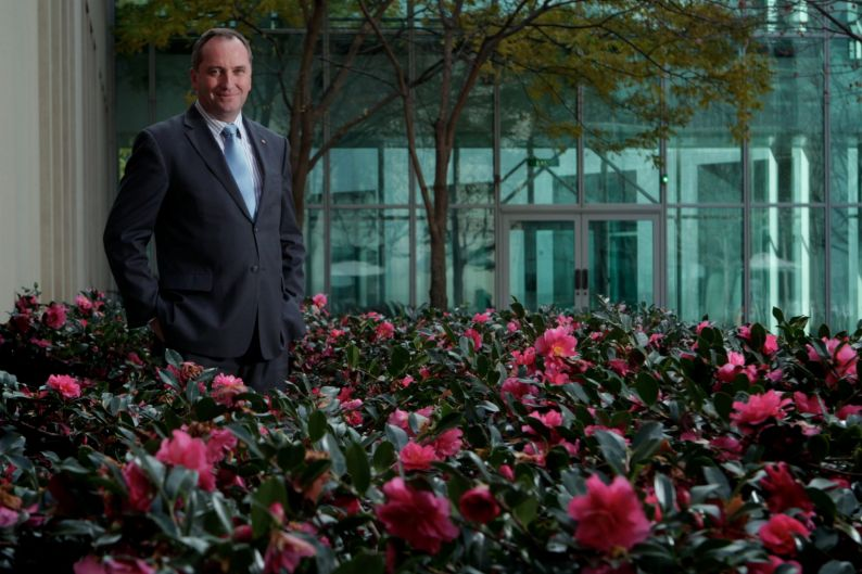 Senator Barnaby Joyce in the Senate Courtyard at Parliament House Canberra on June 2, 2011.