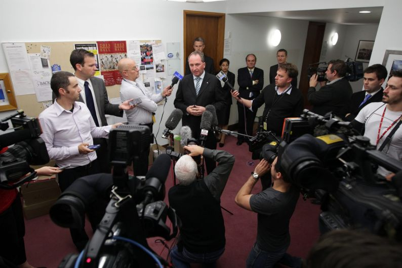 Nationals Senator Barnaby Joyce speaks to the media during a doorstop interview in the Press Gallery at Parliament House ...