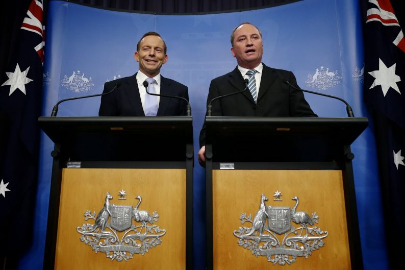 Former Prime Minister Tony Abbott and former Agriculture Minister Barnaby Joyce address the media during a press ...