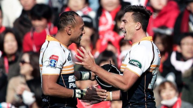 Christian Lealiifano, left, made his Super Rugby comeback against the Sunwolves last year.