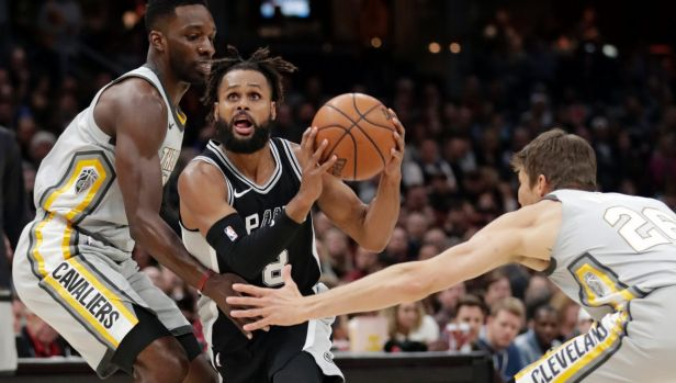 Patty Mills playing against the Cavaliers.