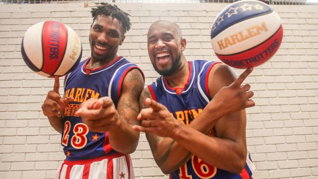 "Harlem Globetrotters ""Thunder'' (left) and ""Scooter'' are a big wrap for Australia's Ben Simmons."