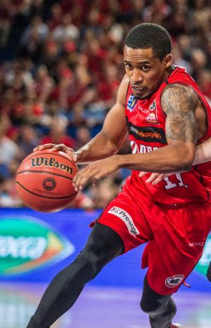 Bryce Cotton of the Wildcats dribbles the ball during the Round 18 NBL match between the Perth Wildcats and the Cairns ...