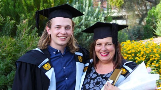 Maxwell and Sharon at their graduation ceremony.